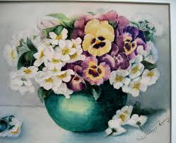 apple blossoms and pansies